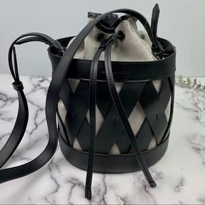 Kendall & Kylie Mia Black Caged Leather Bucket Bag